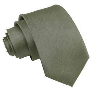 Sage Green Mens Slim Tie Handkerchief Cufflinks Solid Plain Shantung by DQT