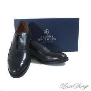 NIB #1 MENS Brooks Brothers Made in USA Edmonds Black Leather Wingtip Shoes 8.5
