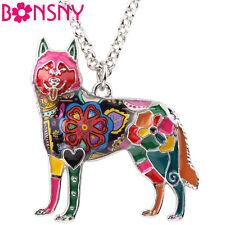 BONSNY Siberian Husky Dog, Jewellery Pet Animal Charm Pendant Enamel Necklace