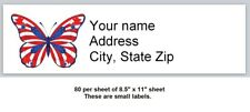 80 Personalized Address Labels Us Flag Butterfly Buy3 get1 free (x 11)