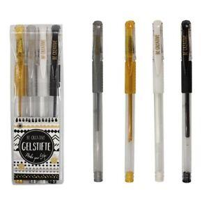 Be Creative Gelstifte Glitzer 4er Set silber gold schwarz weiß Trendhaus