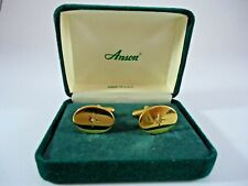 Vintage ANSON Cuff Links Oval Shape w Star Diamond? in Center Gold? ACL 47508