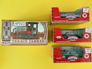 Lot of 4 Vintage Texaco Die Cast Cars,1910 Tanker Bank ,Three Gearbox Pedal Cars