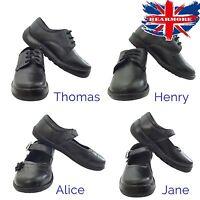 Boy Girl Black Leather School Uniform Shoes Infant Junior Soft Comfort All Size