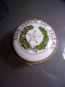 Small Porcelain Hinged Trinket Box~ The State of Texas ~Kay Bailey Hutchinson