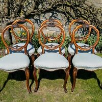 Victorian Set of 6 Carved Walnut Balloon Back Dining Chairs C1870