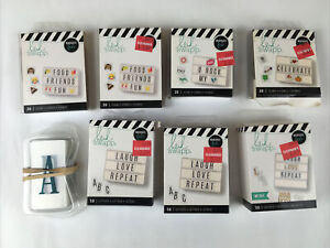 American Crafts Heidi Swapp Lightbox Alpha Inserts black 8 Sets! Icons Letters