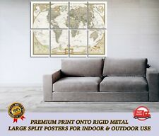 Vintage World Map LARGE METAL Poster Wall Art Print Split Section A1
