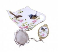 NEW Australian Bird Blue Wren Tea Strainer Set Fine Bone China Gift w Box