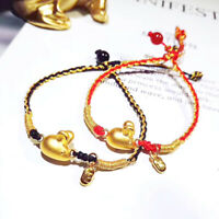 1PCS Fine Solid Pure 999 24Kt Yellow Gold Mouse with 福 Bead Bracelet 6.7inch