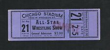 VERY RARE 1960 Chicago Wrestling ticket Killer Kowalski Lou Thesz Rocky Marciano