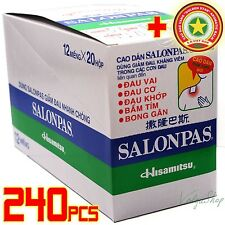 240 Patches = 20 Boxes x12 Plasters Hisamitsu SALONPAS Muscle Pain Relief + GIFT