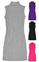 Girls Sleeveless Ribbed Polo Neck Top Kids Tunic Dress Pink Grey Black  3-13 Yrs