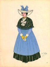 Gravure d'Emile Gallois costume des provinces françaises 1950 Anjou