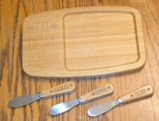 Small Pampered Chef Bamboo Cheese Cracker Board Eat Drink Be Merry w/Knives