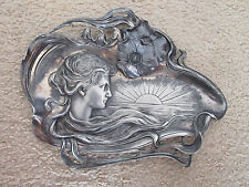 COLLECTIBLE WMFB AS ANTIQUE HIGH RELIEF 3-D ART NOUVEAU 12 X 10 PLATE CARD TRAY