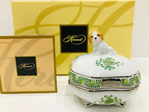 HEREND CHINESE BOUQUET LIME-PLATINUM SMALL BOX WITH PUPPY,BRAND NEW BOXED