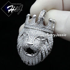 MEN 925 STERLING SILVER LAB DIAMOND SILVER LION FACE HEAD CROWN PENDANT*SP191