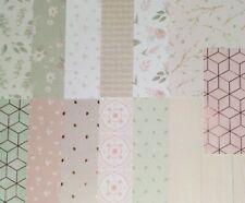 13pcs 6X6 Scrapbook CARDSTOCK, Spring, Sage Pink Blush, Floral, Gold Foil
