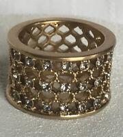Lia Sophia Damascus Ring Size 9 Satin Matte GoldTone Lattice Design Gray Crystal