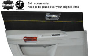 YELLOW STITCH 2X FRONT DOOR CARD TRIM SUEDE COVERS FOR CHRYSLER 300C 2005-2011