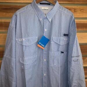 NWT Mens Columbia PFG Plaid Checks UPF 30 Vent L/S Fishing Shirt 2XL Tall 2XLT