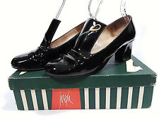 Vintage Amalfi Black Patent Shoes Joesph Heels High Tongue Loafer Pumps in Box
