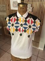 Vtg 90s HEAD Colorful White TENNIS SHIRT Collared Polo Top Size Women's Sz 8 Sm