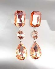 GLITZY Peach Czech Crystals LONG Bridal Queen Pageant Prom Earring