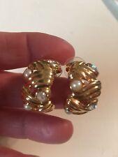 Goldtone Faux Pearl/crystal Half Hoop Earrings