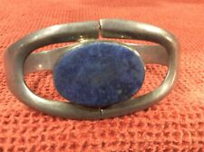 Vintage Heavy Mexican Sterling Silver Lapis Hinge Bracelet TL-83 925 Mexico