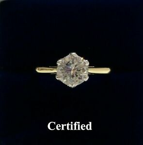Fine Natural 1.00ct Diamond Engagement Ring 750 (18ct) Yellow Gold - Size M 1/2