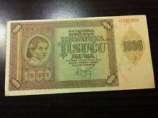 CROATIA- 1000 KUNA 1941-CROATIA- BANKNOTES- NDH- USTASE-  HRVATSKA !!!!