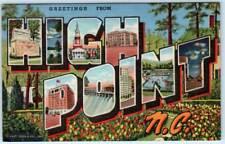 HIGH POINT, North Carolina  NC     LARGE LETTER LINEN  c1940s  Curteich Postcard