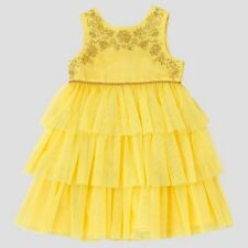 DISNEY PRINCESS BELLE BEAUTY AND THE BEAST YELLOW ROSE EMPIRE DRESS NWT 4T