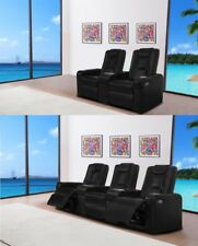 3+2 Seater Electric Leather Home Theater Recliner with Console Table Cinema