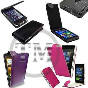 Premium Leather style Flip Cover pouch Case for Apple Blackberry HTC LG Mobiles