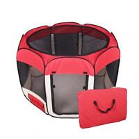 New Small Pet Dog Cat Tent Playpen Exercise Play Pen Soft Crate T08S Red