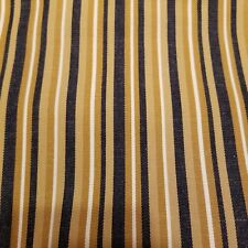 "Vintage Unused TICKING FABRIC Cotton Stripe  77"" X 45"" Tan and Denim"