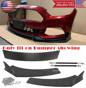 3 Pc Bumper Lip Splitters Spoiler Winglet Shark Fin Blade For 15-17 Ford Mustang