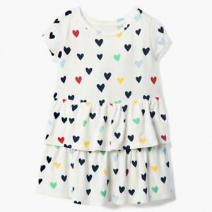 NWT Gymboree All Smiles Heart Print Girls White Ruffle Dress 2T