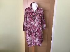 Red maroon burgundy abstract paisley floral print top blouse shirt size 18