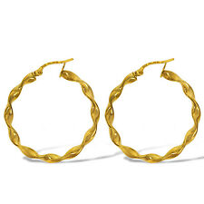 9CT GOLD 30X3MM SHINY RIBBON CANDY TWIST TUBE CABLE HOOP CREOLE EARRINGS BOXED