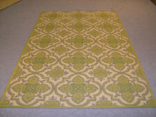 Carpet Dhurrie Indian 5 x 8 ft Yoga Mat Rug Jute Printed Design Kilim Green