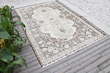 Turkish Rug 68''x103'' Oushak Light Color Hand Knotted Wool Carpet 175x263cm