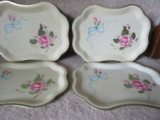 Fine Arts Studio Toleware Trays (4) With Beautiful Pink  Rose On Cream