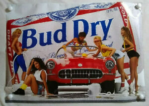 Vintage 90s Budweiser Beer Poster Car Wash Girls Bud Dry Advertising Promo