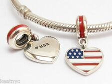 I LOVE USA, FLAG CHARM Bead Sterling Silver.925 For European Bracelets 876