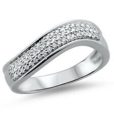 F / VVS MICRO PAVE impostazione rotondo diamante mezzo eternità anello nuziale, 18 K oro Bianco
