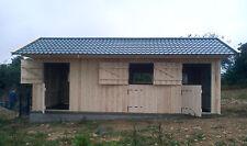 Pferdestall Doppelbox Weide-hütte  3,5 x 8,5 m Heu-lager Pferdebox 1m Unterstand